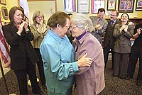 Phyllis Lyon, 79, left, and Del Martin, 83, right